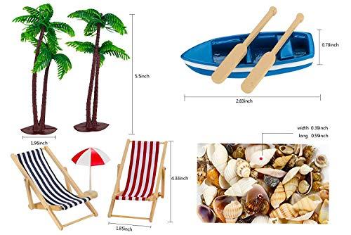 Adkwse 12 STK Strand-Mikrolandschaft Miniliegestuhl Sonnenschirm Palme Deko - 5