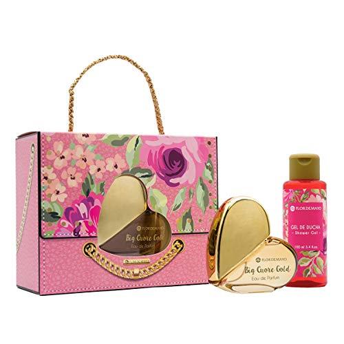 Flor de Mayo, Bolso Big Cuore, Set Regalo en Forma de Bolso con Eau de Parfum Gold Big y Crema de Manos
