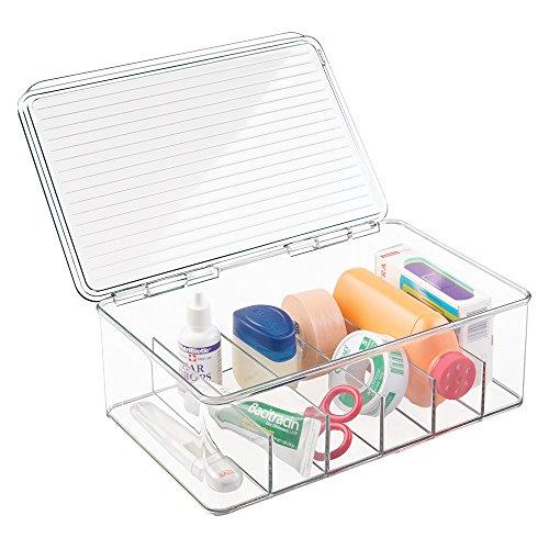 mDesign Aufbewahrungsbox mit 6 Fächern – beispielsweise als Kosmetik Organizer zur Schminkaufbewahrung mit Deckel