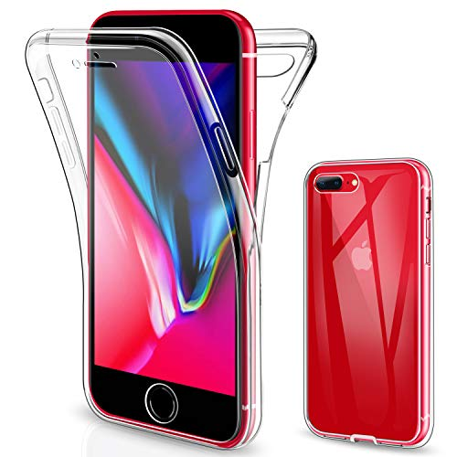 SOGUDE Cover Compatibile con iPhone 7 Plus, Cover Compatibile con iPhone 8 Plus, Custodia Transparent 360°Full Body Protezione Silicone TPU Premium Resistente Case Cover