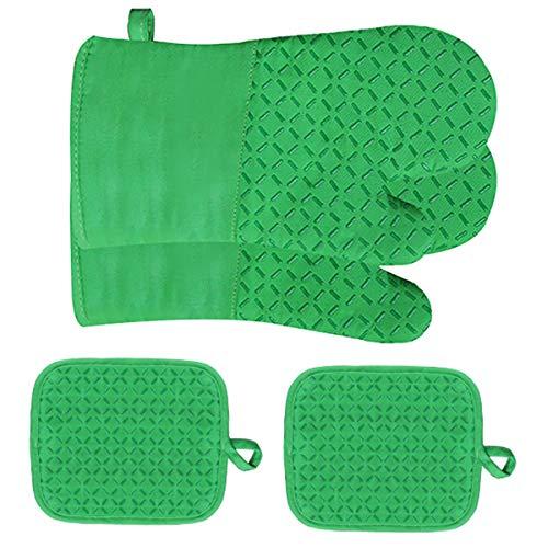 4 manoplas de horno y agarraderas, forro de algodón resistente al calor con superficie antideslizante guantes de silicona para horno almohadillas calientes para cocinar hornear