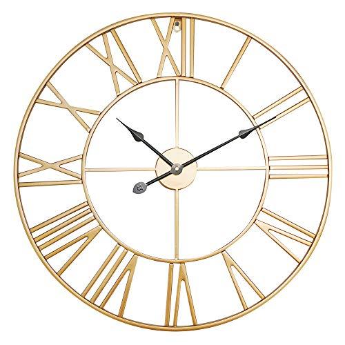 Antic by Casa Chic - Große Metall Wanduhr mit Quarz Uhrwerk - 60 cm Durchmesser - Römische Ziffern - Vintage Zeiger - Gold