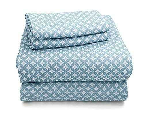 MARQUESS King Flannel Sheet Set-Soft & Comfortable Bedding Sheet, Easy Care and Fade Resistant, Ultra Warm & Luxurious 4-Piece Bedding Collectionby (King, Blue Flower)