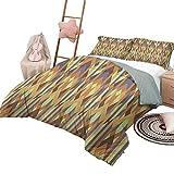Quilt Set mit Laken Erdtöne Weiche Ganzjahres-Baumwollmischung Tagesdecke Lutschtablettenmuster im Patchwork-Stil Gestreifte & Florale Rhombus-Brauntöne in voller Größe Braun-Gelb