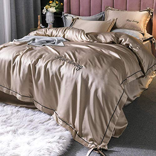 XYSQWZ King Bedding Set,Solid Satin Silk Bedding Set,(King,220 * 240CM) Home Textile King Bed Clothes Flat Sheet Pillowcases Camel 1.8m(Fitted Sheets)