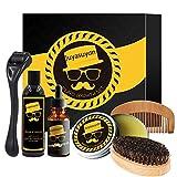 Set profesional de cuidado de barba de 7 piezas, con cepillo y peine y otros accesorios para el cuidado diario de la barba para hombres