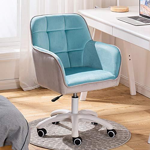 KST Silla de Escritorio Ajustable - Silla de Oficina para computadora Sillón Giratorio de Terciopelo Silla de Trabajo para Sala de Estar en casa Estudio de Oficina, Azul y Gris