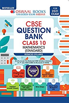 Oswaal CBSE Question Bank Class 10 Mathematics (Standard) (Reduced Syllabus) (For 2021 Exam) by [Oswaal Editorial Board]