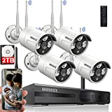{Dual Antennas for Wi-Fi Enhanced} AI Human Detected 2K 3.0MP Wireless Security Camera System, Surveillance NVR Kits with 2TB Hard Drive, 4Pcs Outdoor WiFi Security Cameras, with Audio, Night Vision