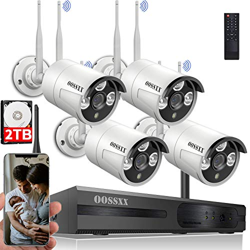 [Dual Antennas for WiFi Enhanced] Wireless Security Camera System, Surveillance NVR Kits with 2TB Hard Drive, 4Pcs 2K 3.0MP WiFi Security Cameras, AI Detection, with Audio, Waterproof, Night Vision