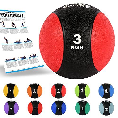 MSPORTS Medizinball 3 kg – Professionelle Studio-Qualität inkl. Übungsposter Gymnastikbälle