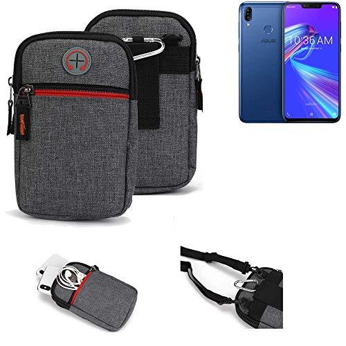 K-S-Trade® Gürtel-Tasche Für Asus Zenfone Max (M2) Handy-Tasche Holster Schutz-hülle Grau Zusatzfächer 1x