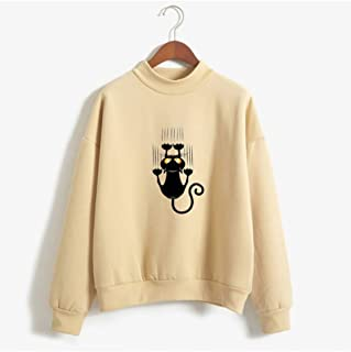 Black cat Women's Pullover Sweatshirt, Cute Striped Pullover, Long Sleeve Casual Jumper Tops Blouse, Clothes Teens Girls Boys