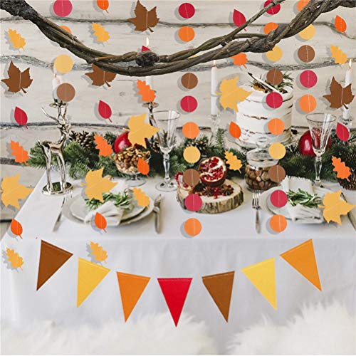 Eshylala 3 Pack Maple Leafs Garland Kit Artificial Autumn Maple Leaves Paper Leaves Red Orange Yellow Leaves Pull Flag Thanksgiving Birthday Window Classroom Wedding Decoration