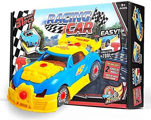 OleOletOy Kinder Montage Spielzeug Auto mit Akkuschrauber für Kleine Mechaniker - Super Spaß beim Zusammenbauen und Schrauben - STEM Spielzeug