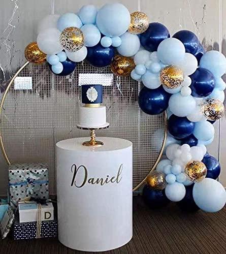 Wacemak1r Kit de guirnalda de globos de látex macaron azul marino, globos de confeti para bodas, fiestas de cumpleaños, 65 unidades