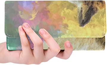 Unique Custom Abstract Digital Art Digital Painting Design Women Trifold Wallet Long Purse Credit Card Holder Case Handbag