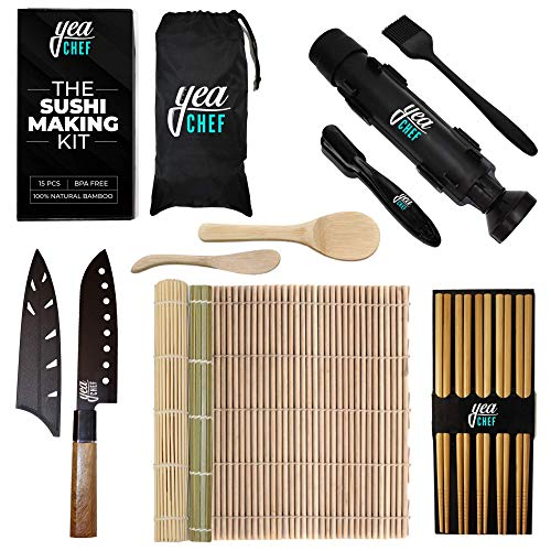 Sushi Making Kit for Beginners  All In One Bazooka Set Roller Nigiri Mold Maker Bamboo Rolling Mats Rice Tools Chopsticks Knife  Enjoy DIY Sushi at Home Easy for Kids Simple Sushi Party Gift