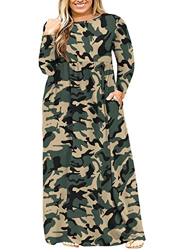 LONGYUAN Women L-6XL Long Sleeve Casual Plus Size Maxi Dress with Pockets 3XL,Camouflage