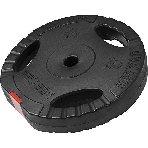 GORILLA SPORTS® Hantelscheibe Kunststoff Gripper 10 kg Gewicht mit 30/31 mm Bohrung