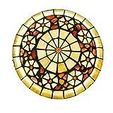 ACHNC Tiffany Lámpara de Techo Sala de Estar Luz de Techo Retro Dormitorio Restaurante Comedor Iluminación de Techo con Pantalla Redonda de Concha Colorida,3 Colores LED Plafon Cocina,30CM