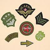 Hierro en parches bordado cosido Termoadhesivos para ropa, chaquetas, mochilas, jeans, 7pcs army green logo set