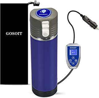 Temperature Control Travel Coffee Mug Car Heated coffee mug Cup with LED Display, Coffee Beverage Warmer and Water Boiler,12V/24V High Low Adjustable