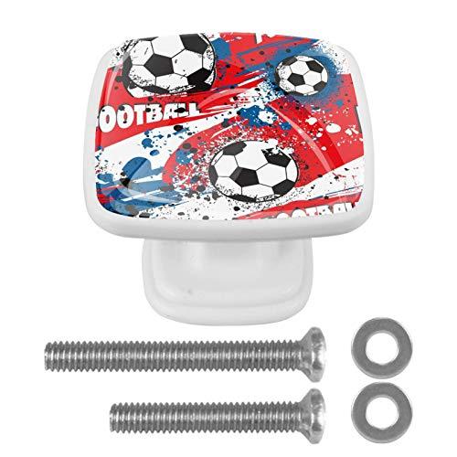 Juego de 4 pomos cuadrados de cristal para puertas de armario, diseño de balón de fútbol de Francia