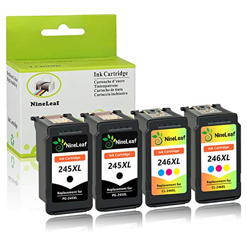 Nineleaf Remanufactured Ink Cartridges Compatible for Canon PG-245XL CL-246XL PG 245 CL 246 XL PG-245 CL-246 XL MX490 MX492 MG2522 MG3020 MG2920 MG2924 iP2820 MG2525 MG2420 2 Black +2 Tri-Color