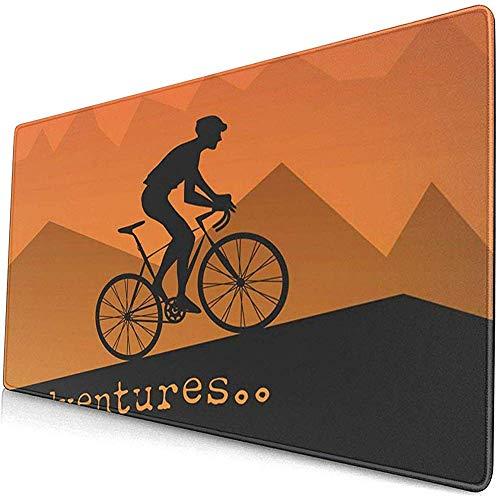 Gaming Extended Mouse Pads mit Rutschfester Gummibasis Fahrradfahren Werbung Abstract Fahrrad Fahrrad Kletterzyklus Garage Urlaub 30X80 cm