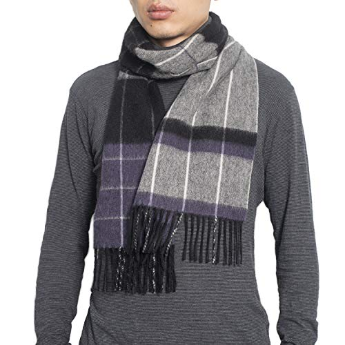 Wool Plaid Tartan Winter Scarf 67' x 11.8'100% Lambswool Scarves for Men and Women