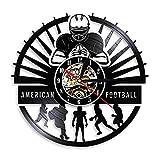 FUTIIF Joueurs De Football Américain Disque Vinyle Horloge Murale Sport Vestiaire Décoration Murale Design Moderne Rugby Muet Montre Football Fan Cadeau Non LED