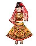 Ahhaaaa Girls Cotton Costume Radha Dress Leghnga Choli Chania Choli with Dupatta Set (7-8 Years,Blue)