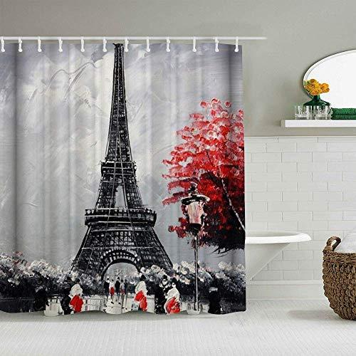 Cortina de ducha Pintura al óleo París Paisaje de la ciudad europea Francia Torre Eiffel Cortinas de baño impermeables Ganchos incluidos - Ideas decorativas de baño Accesorios de tela de poliéster