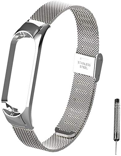 WANFEI Für Xiaomi Mi Band 5 Armband Metall, Ersatzband Wasserdicht Edelstahl Strap Armband Zubehör für Xiaomi Mi Band 5 miband 5 (Fitness Tracker Nicht Enthalten) (Silber 1)