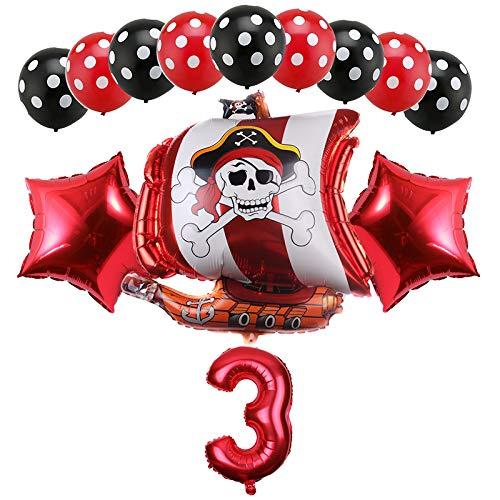 Haosell - Globo de 3 años para decoración de cumpleaños infantil, diseño de piratas