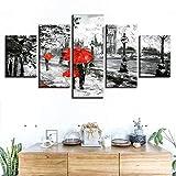 MPPSU Póster Amor Moderno Red-Umbrella-Lover 5 Paneles Impresión HD Cuadros Decoracion Dormitorios Salon Modernos 150Cm×80Cm con Marco