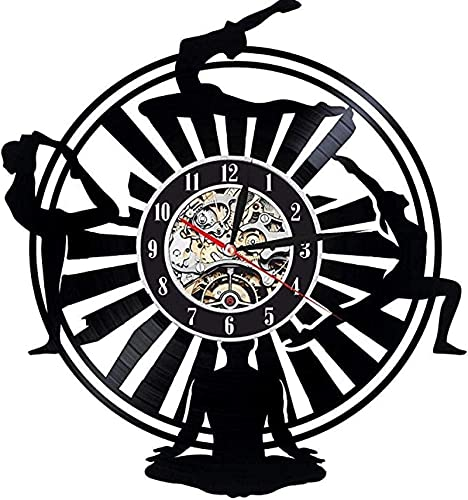 TeenieArt Yoga Reloj de Pared de Vinilo Regalo Original para el hogar Casa para Adultos Dormitorio Cocina Decoración de Pared Accesorio Decoraciones Hechas a Mano para