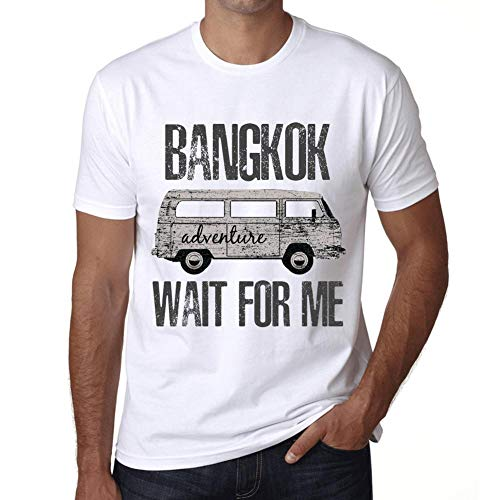 Hombre Camiseta Vintage T-Shirt Gráfico Bangkok Wait For Me Blanco