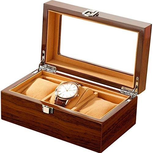 YIJIN Caja de Reloj de Madera de Sauce Ranuras de Reloj Anchas Caja de Reloj de Madera de Pera Organizador de Almacenamiento Caja de Almacenamiento de Joyería de Negocios de Regalo para Hombres,A