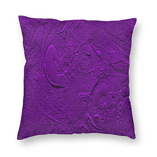 FULIYA Fundas de cojín de 45 x 45 cm, juego de 1 funda de almohada de lino cuadrada para sala de estar, sofá, cama, fundas de cojín, textura, rugosidad, morado, patrones