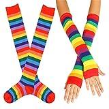 Calcetines altos y guantes sin dedos de punto para mujer, con diseño de rayas multicolor,...