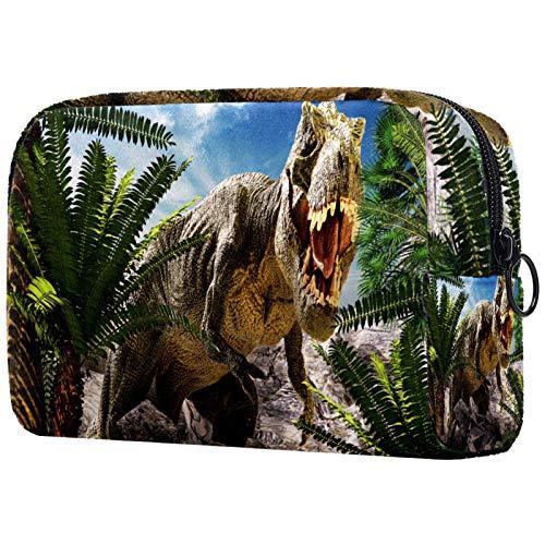 Neceser de Maquillaje Estuche Escolar para Cosméticos Bolsa de Aseo Grande Dinosaurio Gigante destruye el Parque
