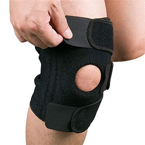 Hually Kniebandage Knieschützer mit Klettverschluss und Patellaöffnung – Knieschoner für Sport und Alltag – Kniestütze für Damen und Herren (schwarz)