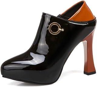 Hoge hakken vrouwen plateauzool, dikke hak schoen, puntige teen en diepe mond damesschoenen met metalen gesp