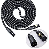 SRADIO 6FT Mic Cable Balanced Patch Cords, XLR Male to XLR Female Pro Microphone Black Tweed Cloth Jacket Braided Cables – 6 Foot Balanced 8mm Mic Cord 3-Pin, Gold Connector – Single