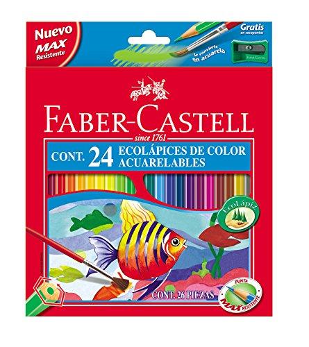 Faber-Castell 120224 - Estuche de 24 ecolápices de color acuarelable, 1 pincel y afilalápices de regalo