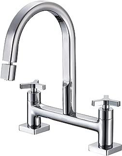 JOMOO Lead Free Brass Chrome Two Handle Bridge Kitchen Faucet 2 Holes 8-Inch Centers Bridge Sink Faucet With Cross Handle