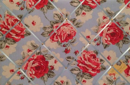 Grand format 60 x 40 cm-Cath Kidston-Fleurs-Bleu/Rose-pied fait main en tissu avis broches/Memo/mémoire