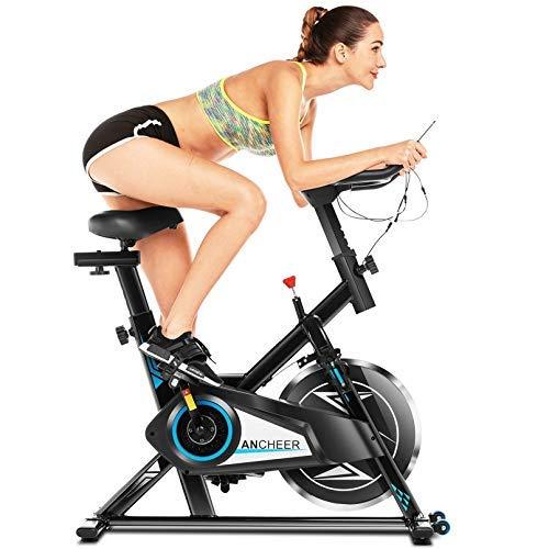 ANCHEER Cyclette da Casa, Bici da Spinning, Bicicletta per Allenamento, Sensore di Impuls, Collega con l'App Manubrio e Sella Regolabili, Portata Massima 120 kg(Nero Volantino di Inerzia 10 kg)